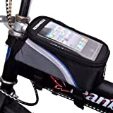 Netspower Bicycle Front Tube Frame Cycling Pannier Bike Pouch Bag & Mobile Phone Holder / Mount with Clear PVC Screen for iphone 6/5S/5/5C/4s/4, Samsung Galaxy S4/S3- Water Resistant