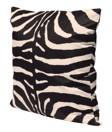 """Zebra Print 100% Cotton Throw Pillow Cover Animal Print Cushion Cover 20 X 20"""" Black And Beige front-960452"""