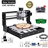 Upgraded Version CNC 3018 Pro Engraving Machine, 3 Axis GRBL Control Mini DIY CNC Router Kit with Offline Controller+ER11 and 5mm Extension Rod, Working Area 300x180x45mm (Color: Black,Slive, Tamaño: 3018Pro)