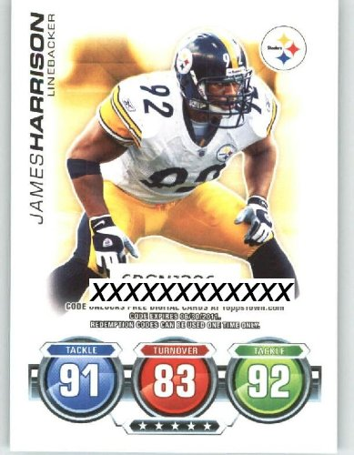 2010 Topps ToppsTown / Attax Code Card #16 James Harrison - Pittsburgh Steelers (NNO / Topps Town) (Football Cards)