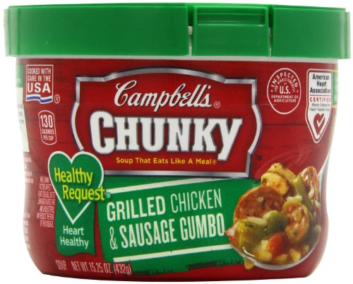 Campbell'S Chunky Healthy Request Grilled Chicken & Sausage Gumbo, 15.25 Ounce Microwavable Bowls (Pack Of 8)