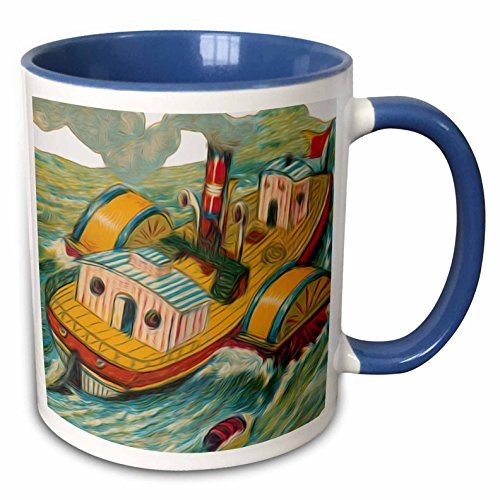 Dooni Designs Vintage Designs - Vintage Steamboat Steamer Nautical Illustration - 11oz Two-Tone Blue Mug (mug_104670_6) (Steamboat Steamer compare prices)