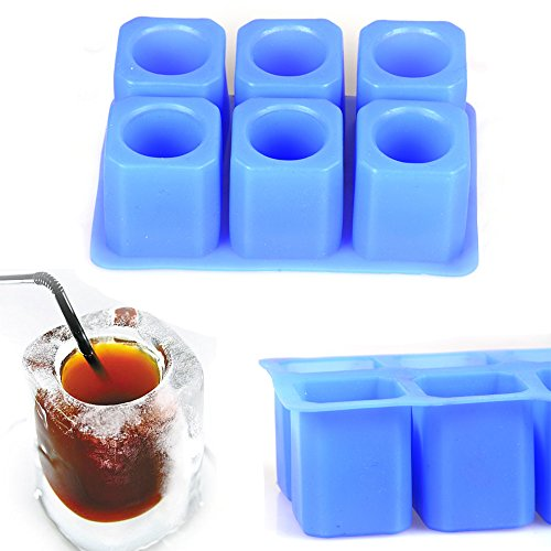 2win2buy 6-Cup Square Ice Cubes Glass Silicone Mold Cool Shooters Tray Dessert Jello Cups