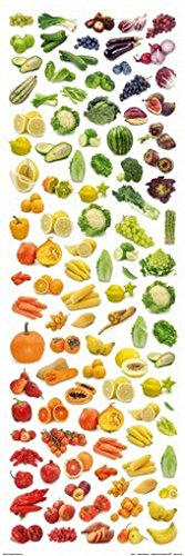 Posters: Cuisine Poster Art Print - Rainbow Collection Of Fruit And Vegetables (36 X 12 Inches) front-584149