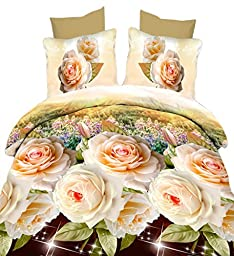 Tinksky 4 Pieces Bed Sheets Set 3D Printing Floral Bedding Sets for Hotel Home