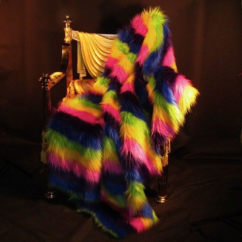 "Rainbow Strip In Faux Fur... Stunning Throw Blanket- Rugs 36"" By 60"" Fun front-63733"