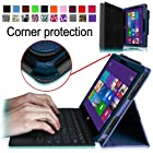 [Corner Protection] Fintie Folio Case for Microsoft Surface Pro / Surface Pro 2 Windows 8 Tablet 10.6 Inch Premium Leather Cover with Stylus Holder (Does not Fit Windows RT Version) - Navy