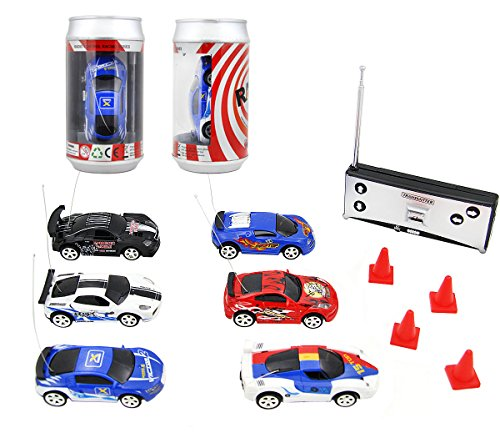 Speed 1:58 Mini Coke Racer RC Radio Remote Controlled Micro Racing Car With LED Lingts Toys Kids Gift, Color by Random (2-pack,40MHz and 27Mhz) (Cars Micro Racers compare prices)
