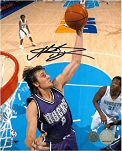 Andrew Bogut Autographed Hand Signed Milwaukee Bucks 8x10 Photo by Hall of Fame Memorabilia