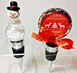 Holiday Wine Bottle Stoppers. Santa, Snowman, Tree, Candy Cane (Snowman 1)