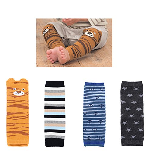 Baby Boys Girls Cozy Soft Cotton Leg Warmers Toddler Kneepads Knee Warmers Pack of 4