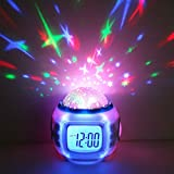 Anself LED Display Digital Music Star Sky Projection Calendar Thermometer Snooze Alarm Clock - Best Reviews Guide