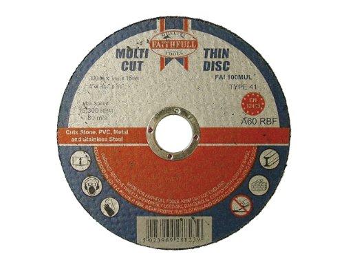 100 X 1 X 16mm Multi-cut Thin Cut Off Wheel (pack Of 10) By Faithfull