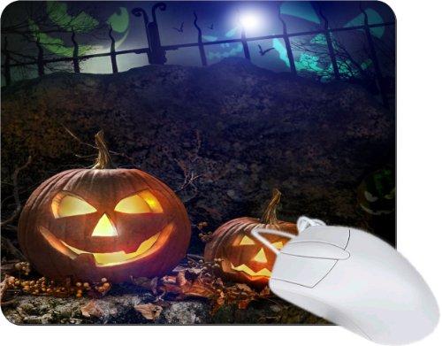 Rikki Knighttm Halloween Glowing Pumpkins In Graveyard Tanpad Ultra Thin Mouse Pad Ideal For All Laptops, Notebooks, Macbook Air, Macbook Pro front-560360