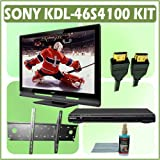 Sony Bravia S-Series KDL-46S4100 46-inch 1080P LCD HDTV + Sony DVD Player w/ Wall Mount Accessory Ki