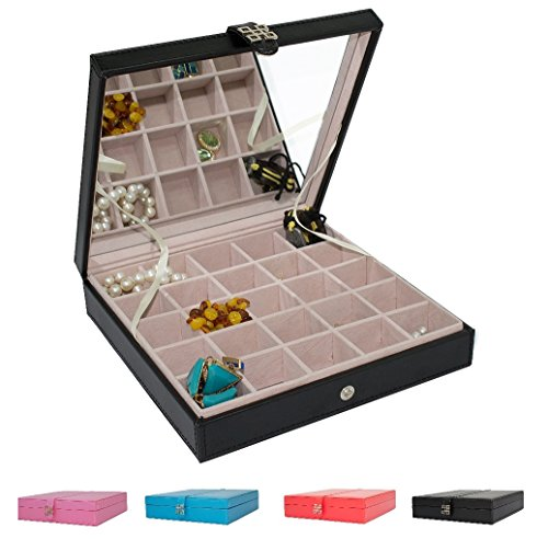 Earring Organizer Classic 25 Section Jewelry Box Case Holder