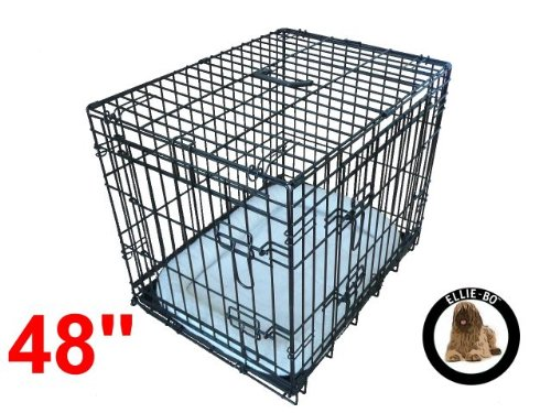 Ellie-Bo Black 48 inch Deluxe XXLarge 2 Door Folding Dog Puppy Cage with Faux Sheepskin Bed