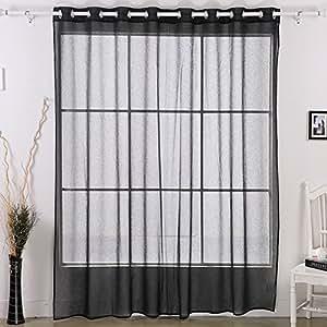 Deconovo Wide Width Grommet Linen Look Sheer Curtain 100x95 Inch Black One Panel