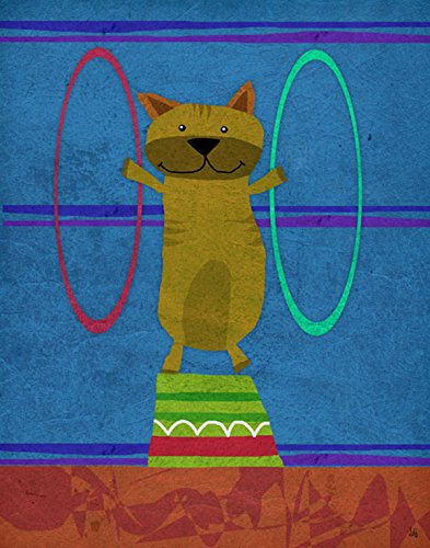 Green Leaf Art Circus Cat Canvas Art