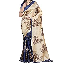 RGR Enterprice Woman's Bhagalpuri Designer Saree (ZAMKHUDI BLUE_Multi-Coloured_Free Size)
