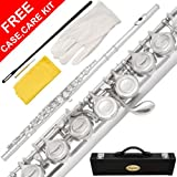 120-NK - Silver NICKEL Closed C Flute Lazarro+Pro Case,Care Kit - 10 COLORS Available ! CLICK on LISTING to SEE All Colors