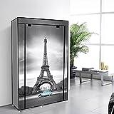 EBS-Tragbare-Non-Woven-Canvas-Stoff-Kleiderschrank-Faltschrank-Lagerung-5-Regale-Eiffelturm-105-x-45-x-158-cm