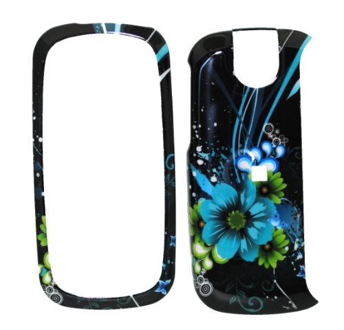 Best Prices! Blue Green Moon Flower Snap on Protective Cover Case for Pantech Impact P7000