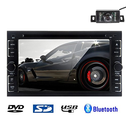 Rear Camera Included 2015 New Model 6.2-Inch Double-DIN In Dash Car DVD CD Player Touch screen LCD Monitor with MP3/MP4/USB/SD/AM/FM/RDS/TV Radio/BT/Stereo/Audio Wall Paper exchange +Windows UI