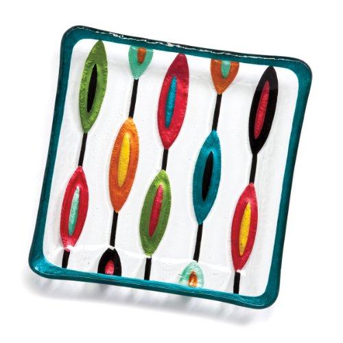 Demdaco Silvestri Glass Fusion Retro Snack Plate