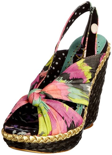 Irregular Choice Women's Amy Lasagna Black Multicolor Wedges Heels 4003-4A 6 UK, 39 EU