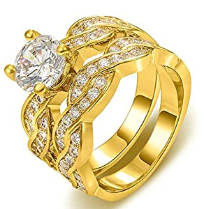 Anazoz 18K Gold-Plated Ring Round Shape Double Twisted Cubic Zirconia Width 10mm US Size 6 Her Gold