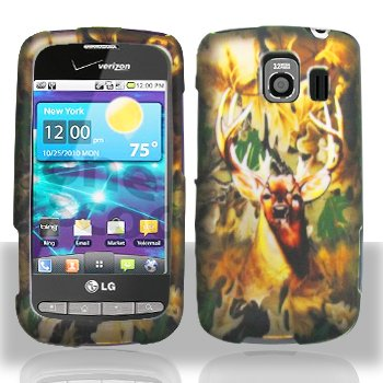Green Deer Hunter Design Rubberized Snap on Hard Skin Shell Protector Faceplate Cover Case for Lg Vortex Vs660 + Lcd Screen Guard + Microfiber Pouch Bag + Case Opener