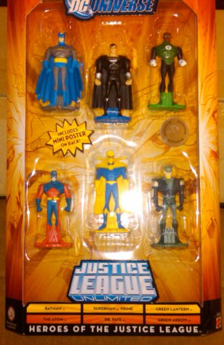 Buy Low Price Mattel DC Universe Justice League Unlimited Heroes of the Justice League 6 pack with Batman, The Atom, Superman Prime, Dr. Fate, Green Lantern, and Green Arrow Figure (B003V18GCY)