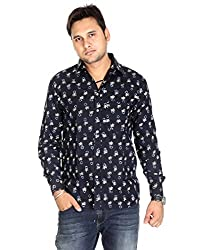 Indian Designs Cotton Designer Floral Black Casual Shirt By Rajrang