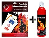 Set of fireproof documentbag and extinguishing flame Ade
