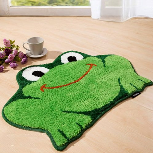 Luxbon Approx. 1 Ft. 5.6 in x 2 Ft. 1.5 in Popular Frog Color Green Soft/Smooth/Flexible Carpet/Mat/Rug Floor/ Bedroom/Living Room/Bathroom/Kitchen/Area/Home Decoration