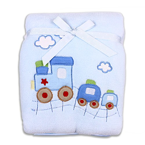 Spasilk Baby-Boys Newborn Extra Thick Plush Blanket with Satin Trim, Blue Train,  30 Inchx40 Inch