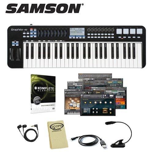 Samson Graphite 49 Usb Midi Controller Keyboard (Sakgr49) - Includes: Usb Cord, Headphones, Music Light, Godpsmusic Cloth & Native Instruments Komplete Elements 8 Software