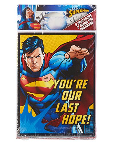 American Greetings Superman Invite & Thank-You Combo Pack (8 Count) - 1