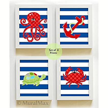 Nautical Kids Wall Art U2013 Sea Life Ocean Creatures U2013 Kids Room Bathroom Decor  Nursery Art Print Set U2013 Crab U2013 Octopus  Turtle U2013 Anchor U2013 Size 11×14