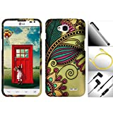 "Valuable Bundle / 4 in 1 for LG Optimus L90 - 1 Extraordinary Elegant Artistic Design Snap-On Hard Cover Protector Case + 1 Random Color Handsfree Headset 3.5MM Stereo Earphone + Garnet House 4""L Silver Stylus Touch Screen Pen + 1 Free Bonus 3 Feet (1M) Tangle-Free Flat Noodle USB to Micro USB v2.0 Data / Charger Cable (Gold Antique Flower)"