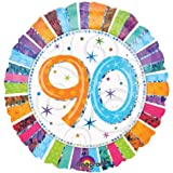 "90th Birthday balloon - Prismatic Radiant 90th Birthday Flat 18"" Foil balloon - 90"