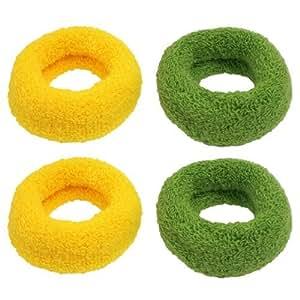2 Pairs Yellow Green Headdress Acrylic Elastic Belt Ponytail Holder for Lady