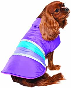 Fashion Pet Lookin Good Reversible Striped Blanket Coat for Dogs, Small, Purple