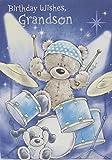 Gold Grandson Birthday Card Bear Playing Blue Drum Kit 75 x 525