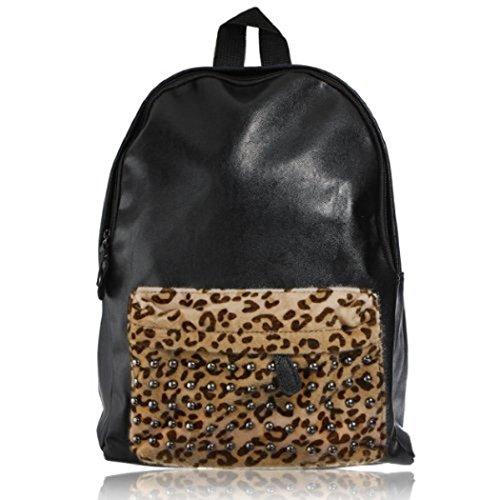 Viaggi nero di modo dell'unitš€ di elaborazione cuoio borchiato zaino del sacchetto di scuola punk Leopard Rivetti esterna Borsa a tracolla, Super Cool!