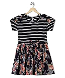 Budding Bees Girls Striped and floral Printed Dress