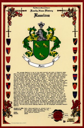 Ramirez Coat Of Arms/Crest And Family Name History, Meaning & Origin Plus Genealogy/Family Tree Research Aid To Help Find Clues To Ancestry, Roots, Namesakes And Ancestors Plus Many Other Surnames At The Historical Research Center Store front-389828