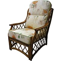 Replacement Cane CHAIR CUSHIONS ONLY Conservatory Furniture Wicker Rattan by Gilda® - Stunning Fabric Choice Cotton & Chenille with Piped Edges (Bamboo Natural with Grey Piping) from Gilda Ltd