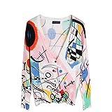 Seawhisper Women's Cardigan Geometric patterns Knitwear V-neck Long Sleeve Cotton Sweater Top